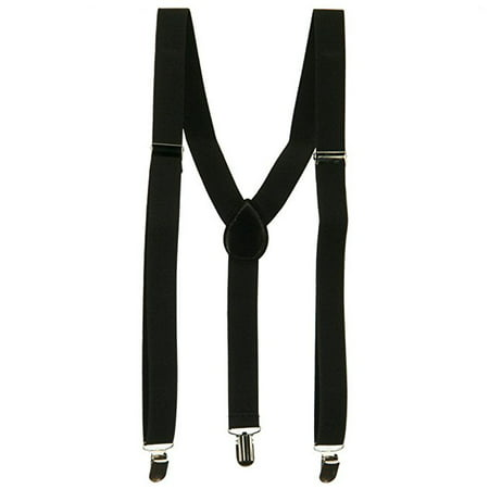 Floral Leather Suspenders - Fashionable Adult Unisex Y-Back Leather Braced Clip-Ons 1inch wide Black Suspenders