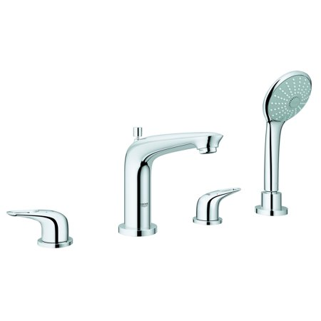 Grohe Eurostyle 4 Hole Roman Bathtub Filler Faucet w/ Massage Handshower, Chrome