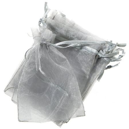 Mini Silver Organza Drawstring Bags