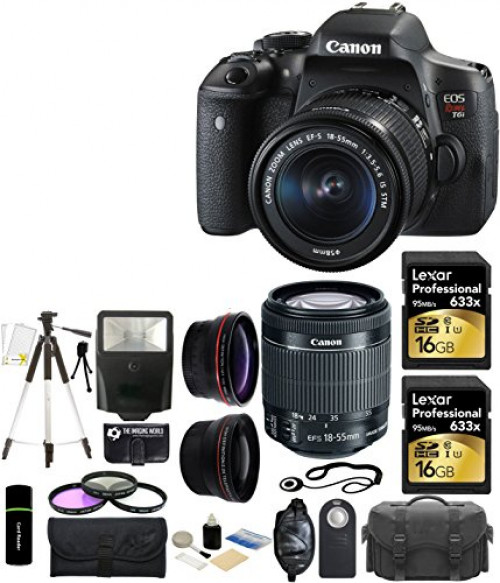 Canon EOS Rebel T6i 24.2MP CMOS Digital SLR Camera with EF-S 18-55mm f 3.5-5.6 IS STM Lens + 58mm Telephoto Lens + Wide... by The Imaging World