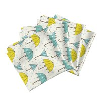 Umbrella Blue Green Yellow Umbrella Cotton Dinner Napkins by Roostery Set of 4
