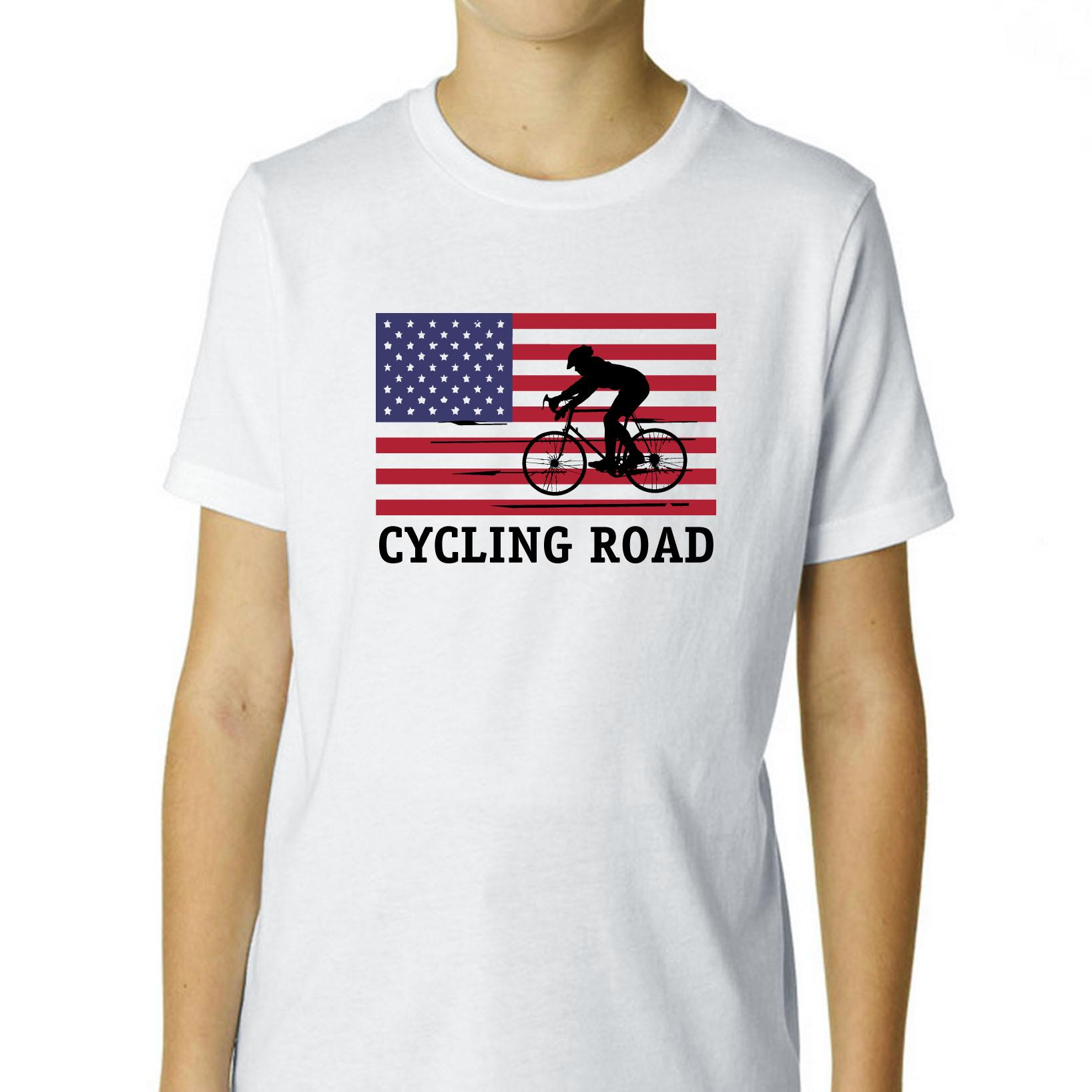 USA Olympic - Cycling Road - Flag - Silhouette Boy's Cotton Youth T-Shirt