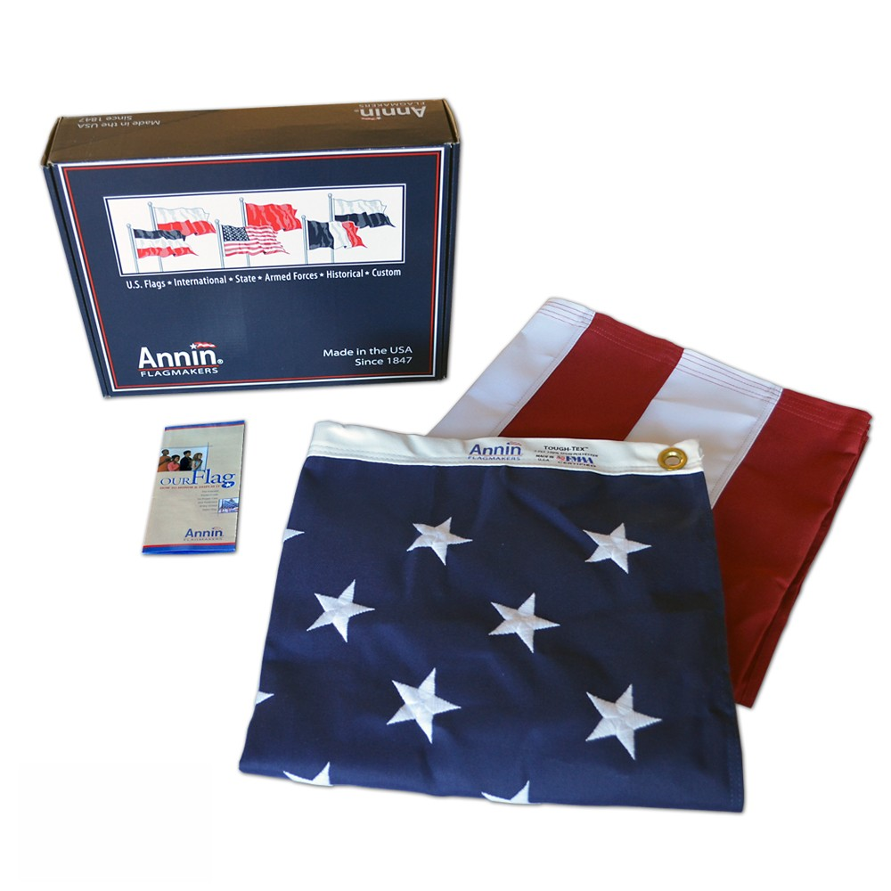American Flag 3x5 ft. Tough-Tex the Strongest, Longest Lasting Flag , 100% Made in USA with Sewn Stripes, Embroidered Stars and Brass Grommets.
