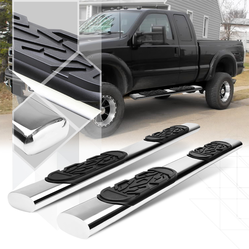 """Chrome 6"""" Oval Side Step Nerf Bar for 99-16 Ford F250 F350 F450 F550 SD Ext Cab 00 01 02 03 04 05 06 07 08 09 10 11 12 13 14 15"""