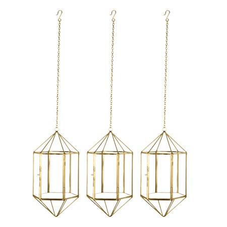 Koyal Wholesale Gold Geometric Metal Glass Hanging Candle Lantern Set of 3 Geometric Modern Prism Pendants