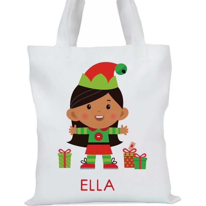 "Santa's Helper Girl Elf Personalized Tote Bag, Small: 11"" x 11.75"" or Large: 14.5"" x 16"""