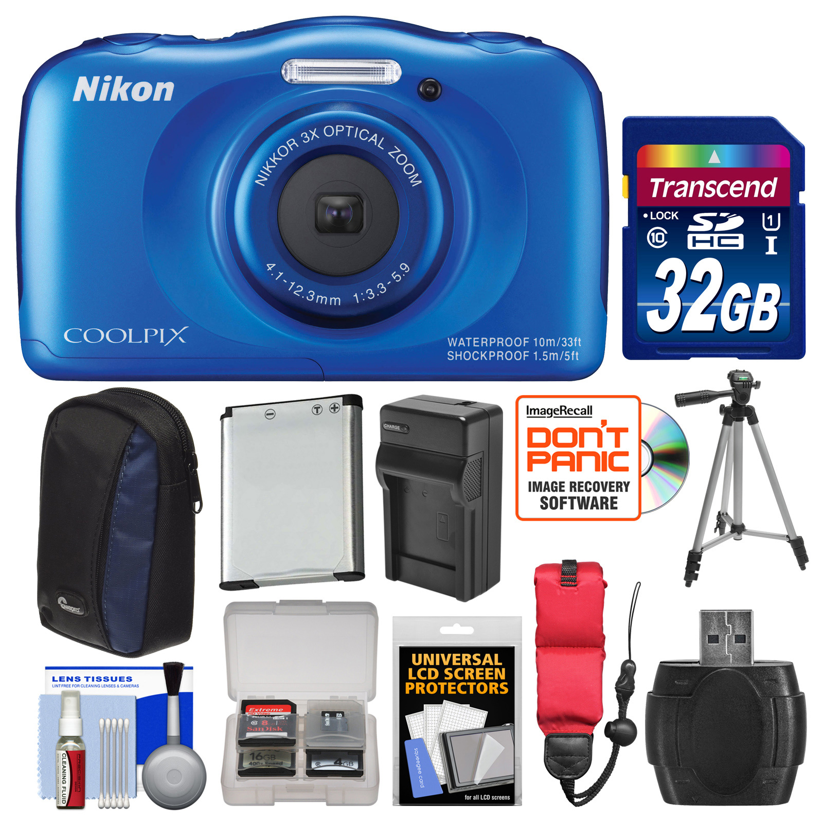 Nikon Coolpix S33 Shock & Waterproof Digital Camera (Blue) with 32GB Card + Battery + Charger + Case + Floating Strap + Tripod + Kit