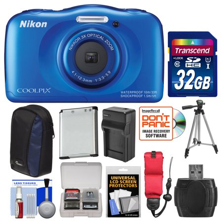 Buy Nikon Coolpix S33 Shock & Waterproof Digital Camera (Blue) with 32GB Card + Battery + Charger +...