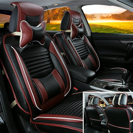 Seat Cushion Cover - Deluxe Black PU Leather Full Surround Car Seat Cover Cushion Set For 5 Seat Car