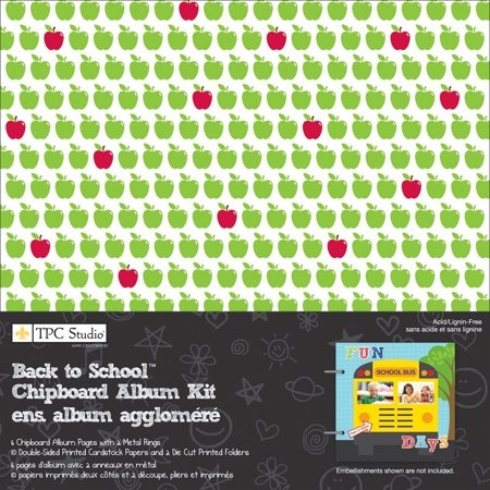 Tabbed Chipboard Album - Back To School 8x8 Chipboard Album Kit By TPC Studio