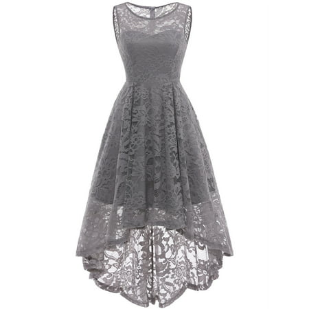 Market In The Box Women's Vintage Floral Lace Sleeveless Hi-Lo Cocktail Formal Swing - Next Lace Dresses