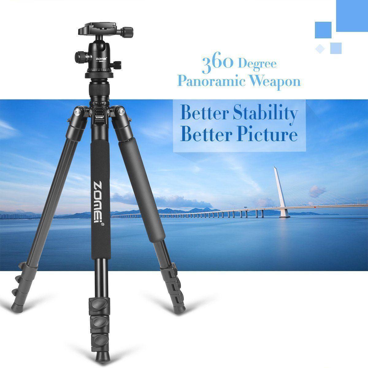 Zomei Q666 Portable Lightweight DSLR Camera Camcorder Tri p o d Ball Head Stand Lightweight Compact Travel