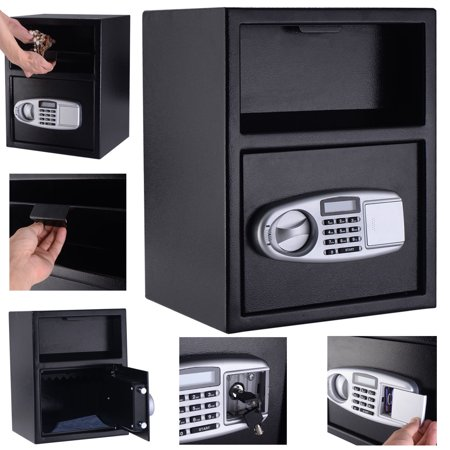 Costway Digital Safe Box Depository Drop Deposit Front Load Cash Vault Lock Home Jewelry