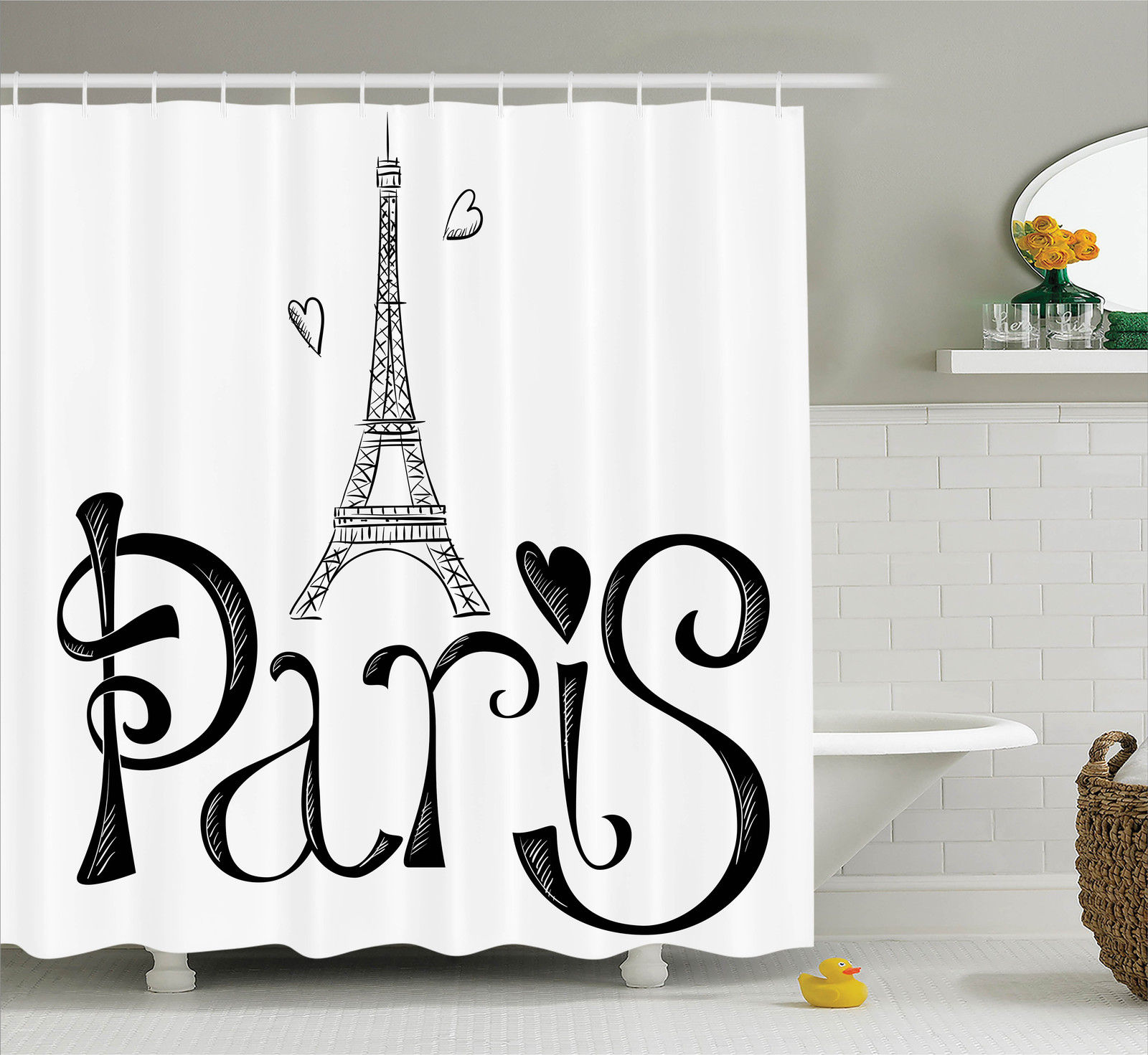 Paris City Decor  Illustration With Eiffel Tower France H...