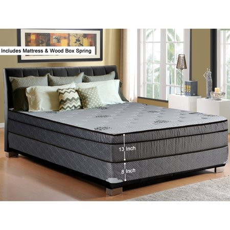 Spring Coil  13-Inch Soft Foam Encased Hybrid Eurotop Pillowtop Memory Foam Gel Innerspring Mattress, Good For The Back,