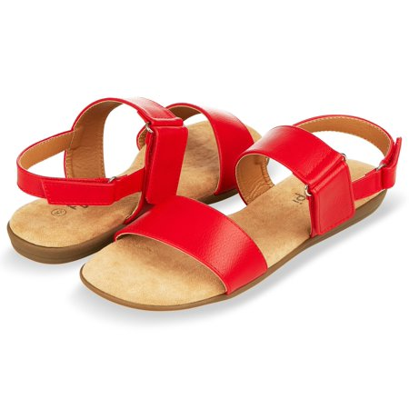Floopi Womens Summer Flat Sandals Open Toe Adjustable Velcro Back Strap Sandal (Womens Back Strap Sandals)