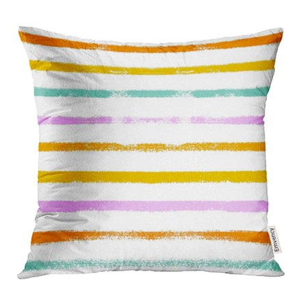 CMFUN Stripy Summer Orange Turquoise Pink Yellow Sailor Stripes Hipster Paintbrush Lines Pillowcase Cushion Cover 16x16 inch