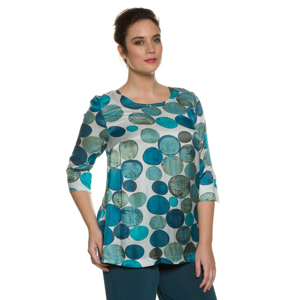 Ulla Popken Women's Plus Size Big Dot Multi Color Silk Bl...
