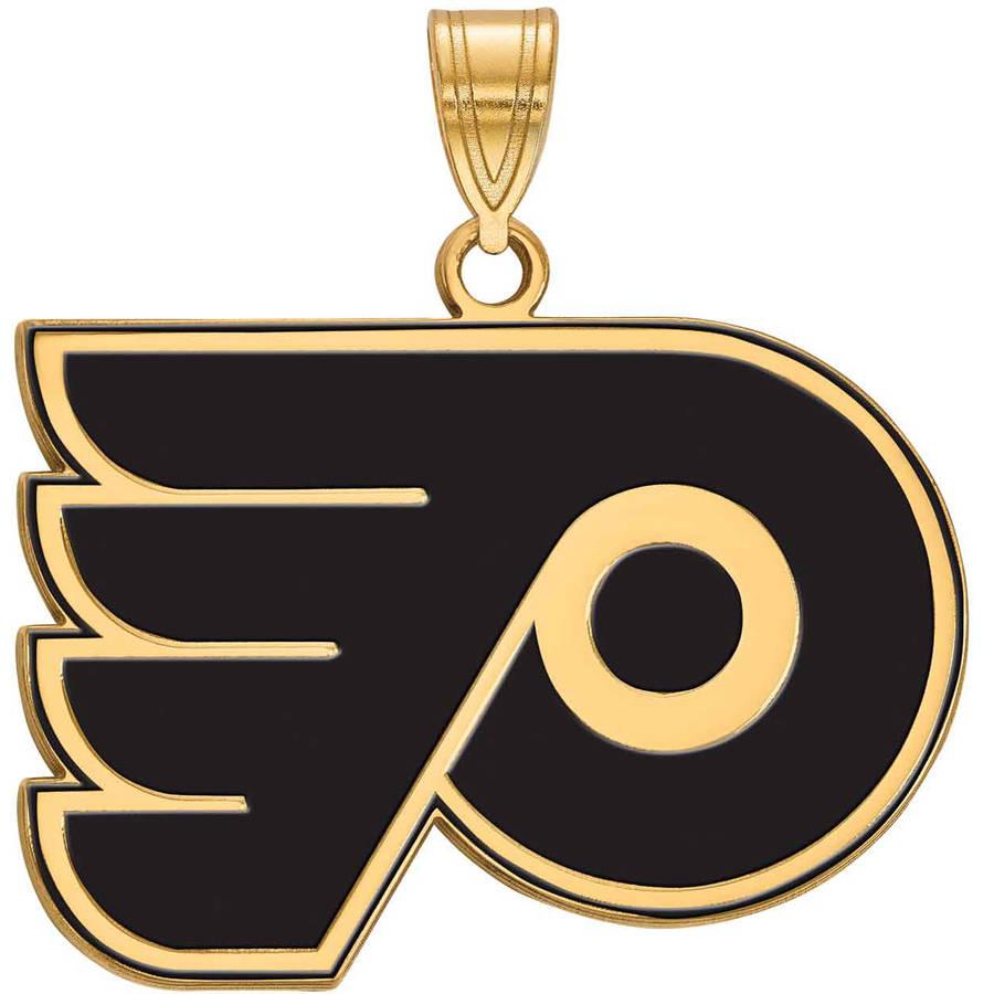 LogoArt NHL Philadelphia Flyers 14kt Gold-Plated Sterling Silver Large Enamel Pendant