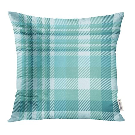 YWOTA White All Tartan Plaid Traditional Checkered in Shades of Teal Dusty Green and Over Pillow Cases Cushion Cover 20x20 inch
