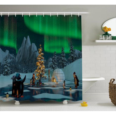 Aurora Borealis Shower Curtain, Penguins on Frozen Lake with Christmas Tree Noel Arctic Circle Design, Fabric Bathroom Set with Hooks, Lime Green Grey, by Ambesonne