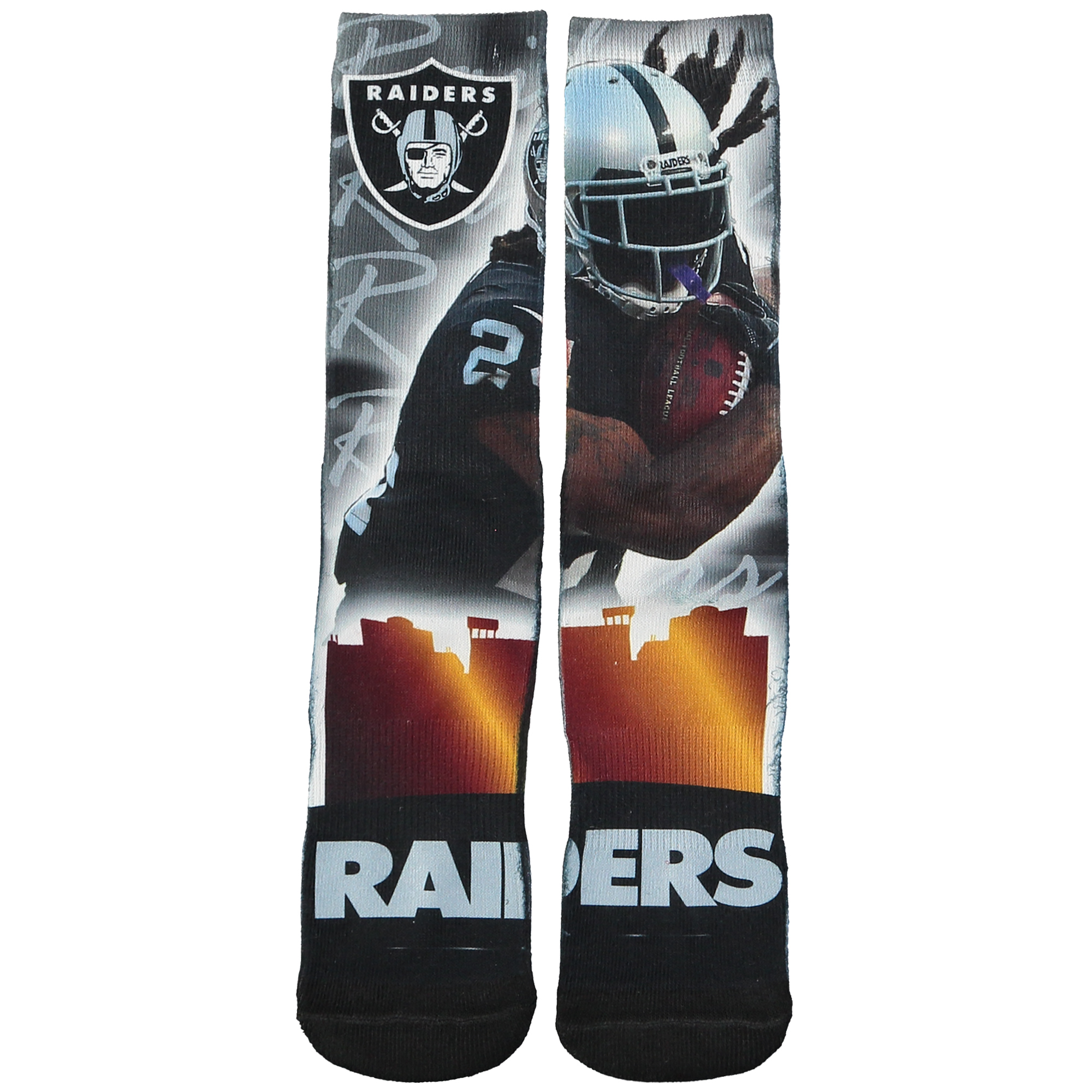 Marshawn Lynch Oakland Raiders For Bare Feet Women's City Star Player Socks - M