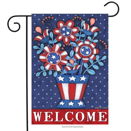 patriotic planter welcome garden flag red white and blue floral 12.5