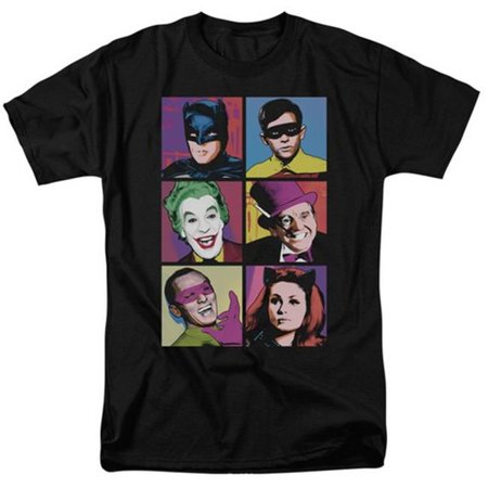 Trevco Batman Classic Tv-Pop Cast - Short Sleeve Adult 18-1 Tee - Black, Large