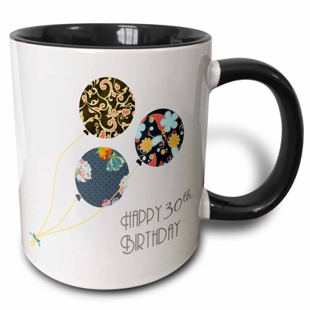 3dRose Happy 30th Birthday - Modern stylish floral Balloons. Elegant black brown blue 30 year old Bday - Two Tone Black Mug, 11-ounce (2 Year Old Birthday Ideas)