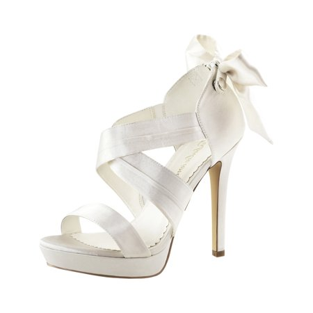 Womens Ivory Bridal Shoes Platform Sandals Strappy Open Toe 4 3/4 Inch