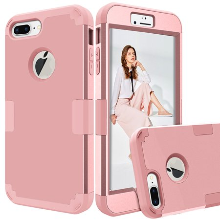 3 In 1 Rose Gold Hybrid Heavy Duty Shockproof Rubber Hard Case Cover For Iphone 8 Plus