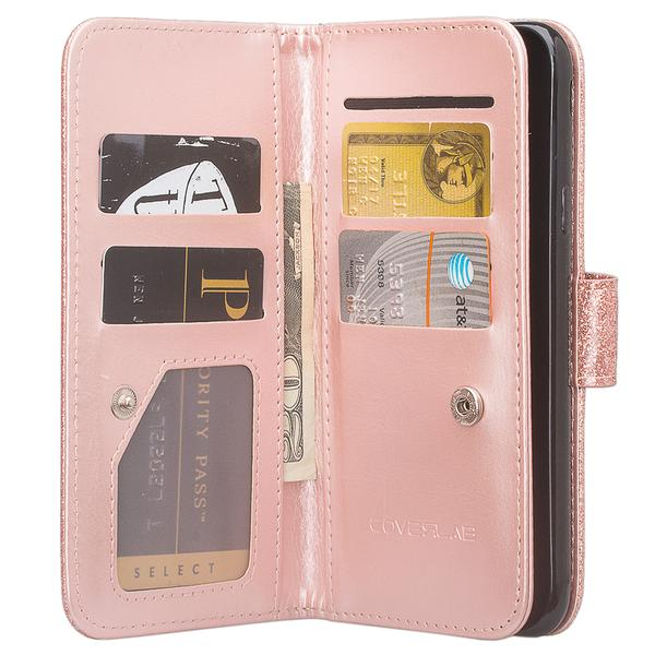 ZTE Blade Z MAX Case, ZTE Sequoia Case Glitter Faux Leather Flip Credit Card Holder Wrist Strap Protective Purse Wallet Case Clutch for ZTE Blade ZMAX - Rose Gold - image 1 of 4