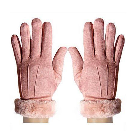 AkoaDa Women Winter Suede Gloves Fur Lining Warm Thermal Driving Touch Screen (Best Thin Winter Gloves)