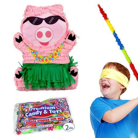 Hawaiian Luau Pig Pinata Party Kit - Includes Pinata, 2lb Filler, Buster Stick and Bandana - Luau Pinata