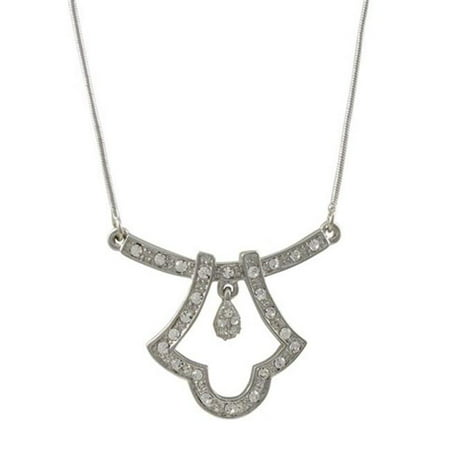 Drop Pave Crystal Bar Necklace