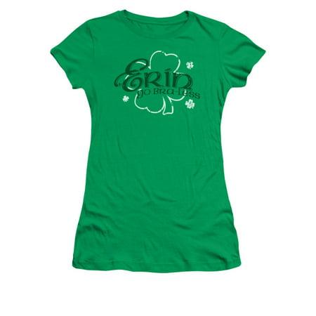 Erin Go Bra-Less St. Patrick's Day Humorous Funny Saying Juniors Sheer T-Shirt - St Patrick Sayings