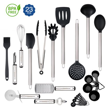 23 Silicone Cooking Utensils Kitchen Utensil set - Stainless Steel Silicone  Kitchen Utensils Set - Silicone Utensil Set Spatula Set - Silicone ...