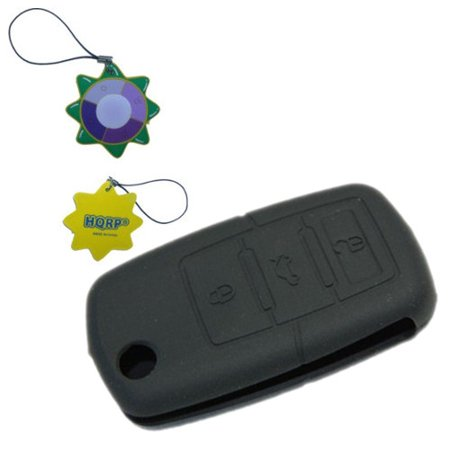 HQRP Black Folding Flip Key Case FOB Shell Remote Protective Cover compatible with Volkswagen VW Jetta GL GLX 2006 2007 06 07 + HQRP UV Meter (Volkswagen Jetta Gls Wagons)