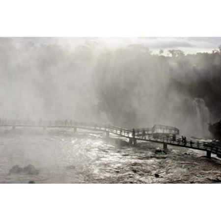 Lookout Engulfed in Mist Iguassu Falls Brazil Canvas Art - Michele Molinari  DanitaDelimont (15 x 10)