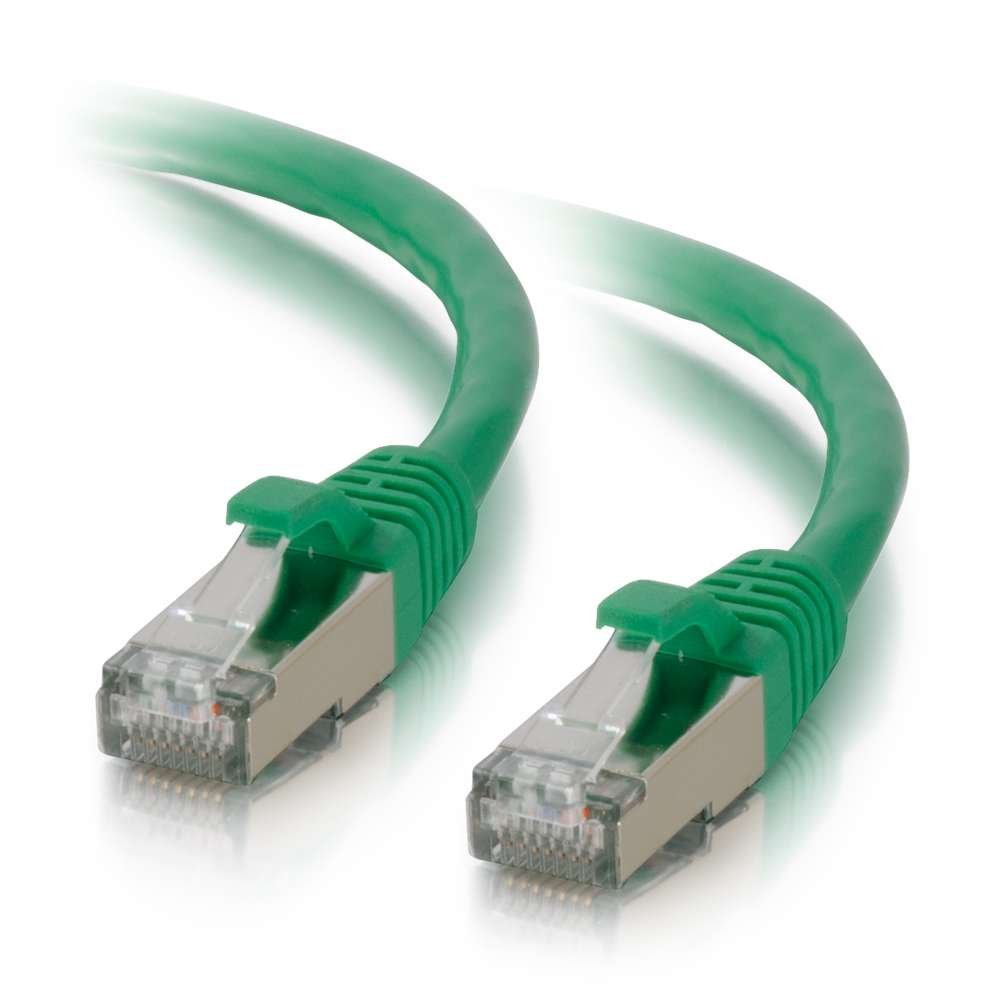 /Cables to Go 00837 Cat6 Snagless Shielded (STP) Network Patch Cable, Green (15 Feet/4.57 Meters), Protect from EMI/RFI interference; connect network adapters,.., By C2G