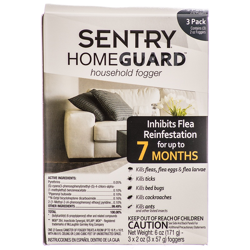 Sentry Homeguard Household Fogger Flea & Pest Control 3 Pack - 7 Month Supply - (3 x 2 oz Foggers)
