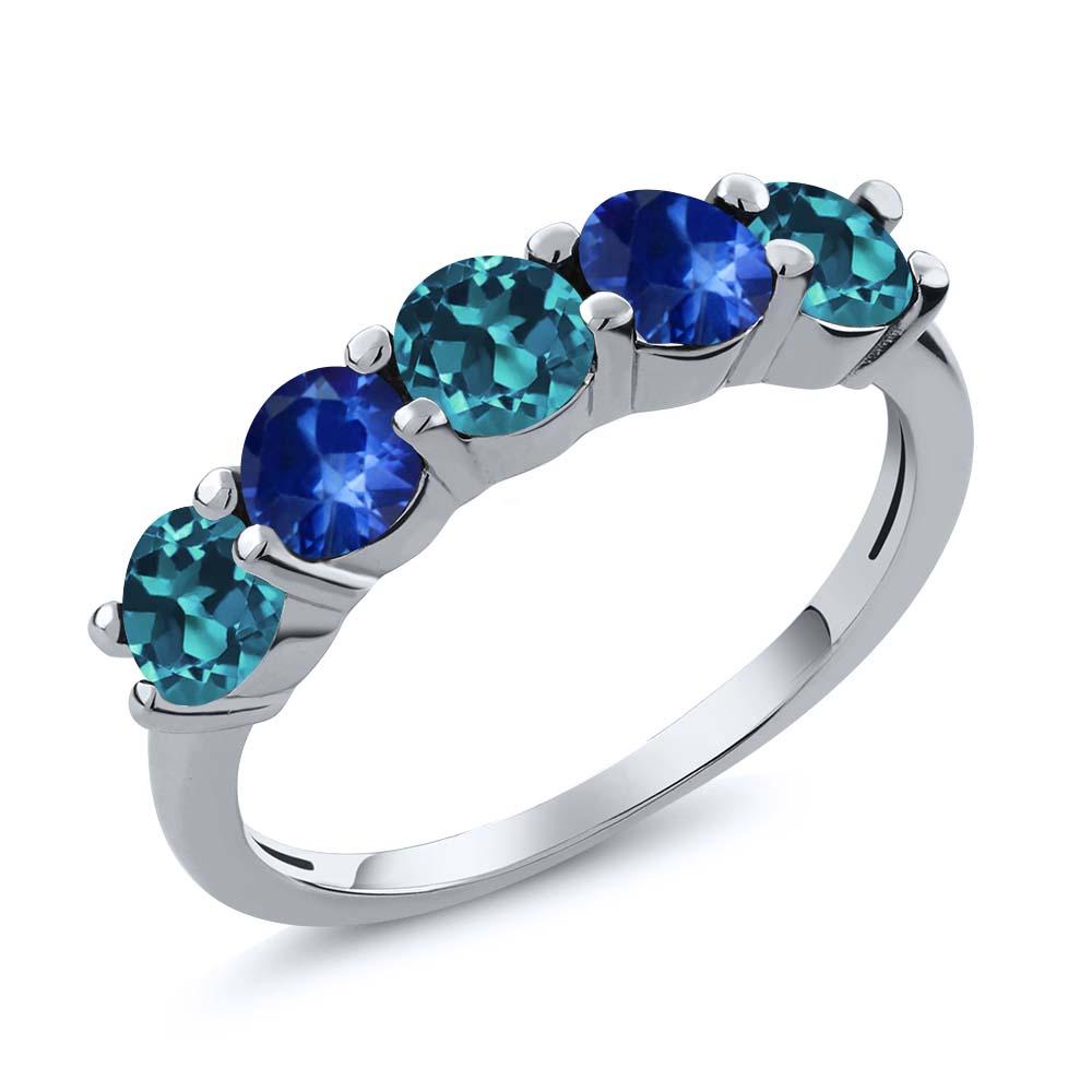1.08 Ct Round London Blue Topaz Blue Sapphire 18K White Gold Wedding Band Ring