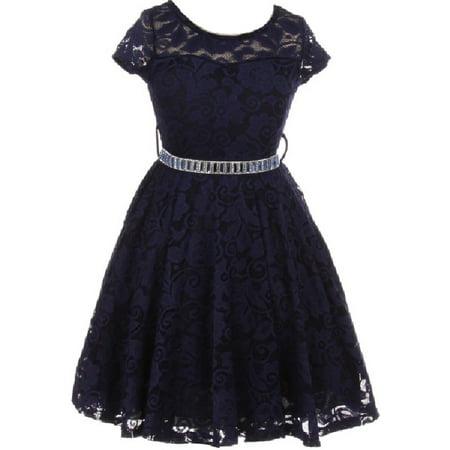 Little Girl Cap Sleeve Lace Skater Stone Belt Flower Girls Dresses (19JK88S) Navy 2](Navy Dresses For Girls)