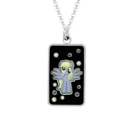 My Little Pony Fine Silver Plated Crystal Muffins Dog Tag Pendant Necklace