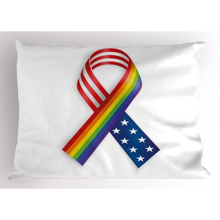 Pride Pillow Sham Rainbow and USA Ribbons Solidarity Equality and Awareness in the World Theme Print, Decorative Standard King Size Printed Pillowcase, 36 X 20 Inches, Multicolor, by Ambesonne