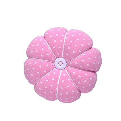 eZAKKA Wrist Wearable Pumpkin Sewing Needle Pin Cushion (Polka Dots Pink), 1-Pack