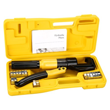 (Finether 10 Ton Hydraulic Crimper Plier Crimping Tool,8 Dies and Carry Case Yellow/Black)
