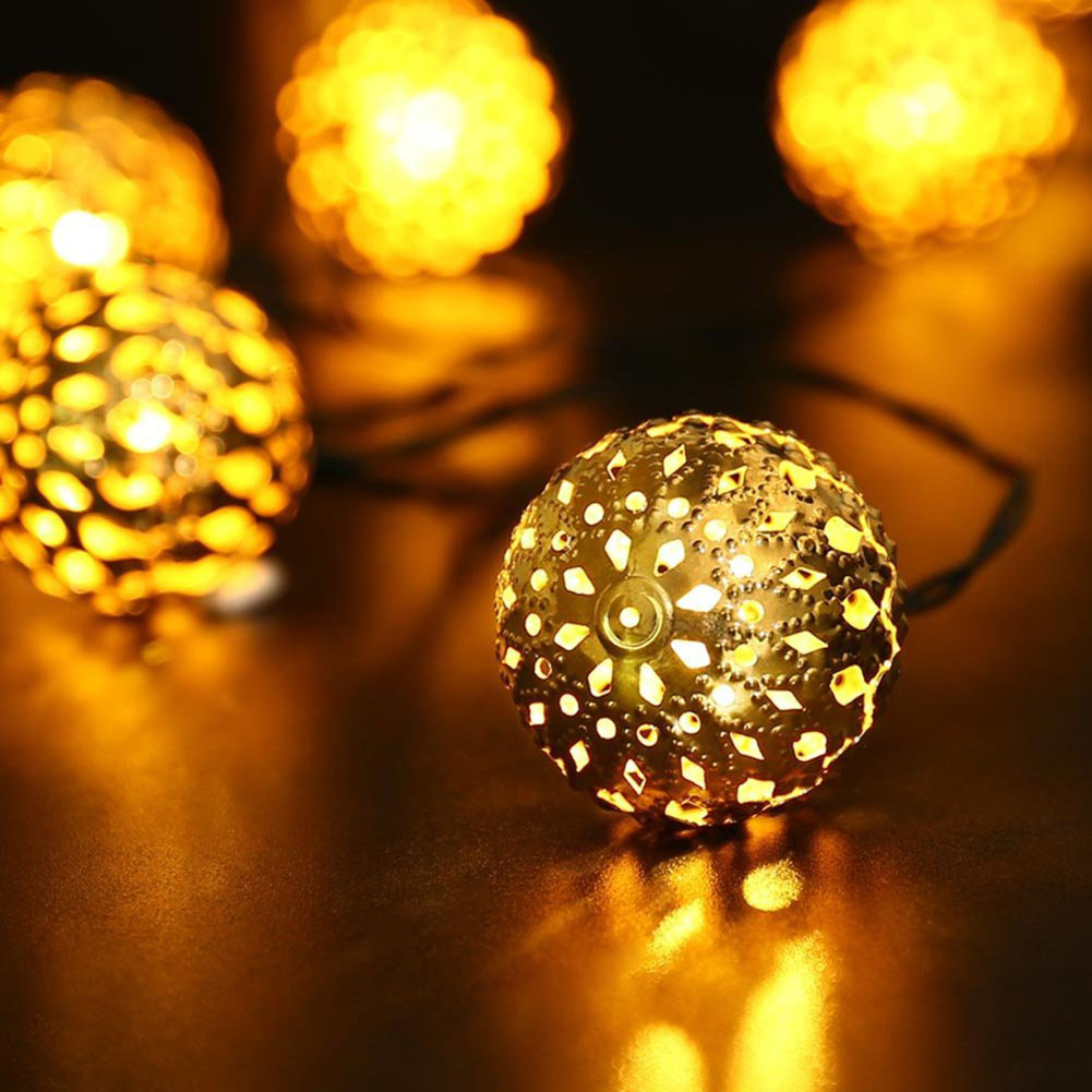 Qedertek Solar String Lights 11ft 10 LED Moroccan Ball Fairy Globe Lantern Lights Decorative Lighting for Outdoor Garden,Yard,Patio,Party, Home Decoration (Warm White)
