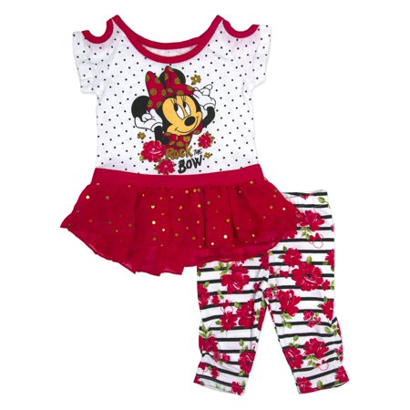 Minnie Mouse Baby Toddler Girl Cold Shoulder Tunic & Capri Legging, 2pc Outfit Set](Minnie Mouse Outfit Baby)