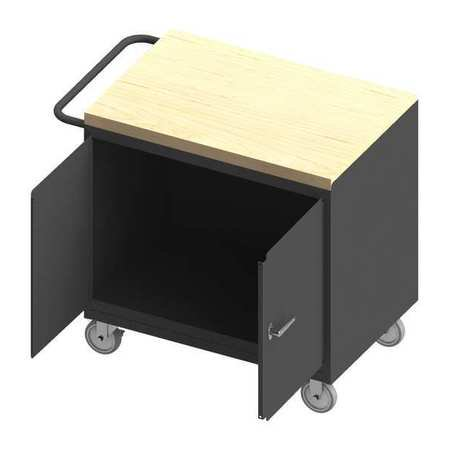 Durham MFG 3112-MT-95 Mobile Bench Cabinet, maple top, work surface, 2 Doors (Top Worksurface)